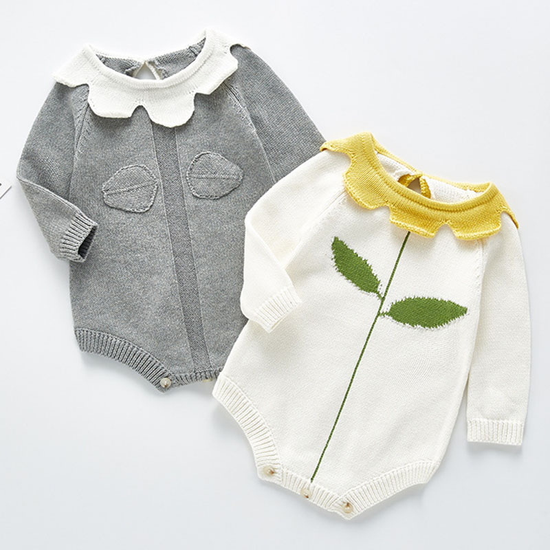 Knitted Baby Clothes Autumn Winter Newborn Bodysuit Long Sleeve Cotton Infant Baby Girl Jumpsuit Infant Boys Bodysuit Sweater