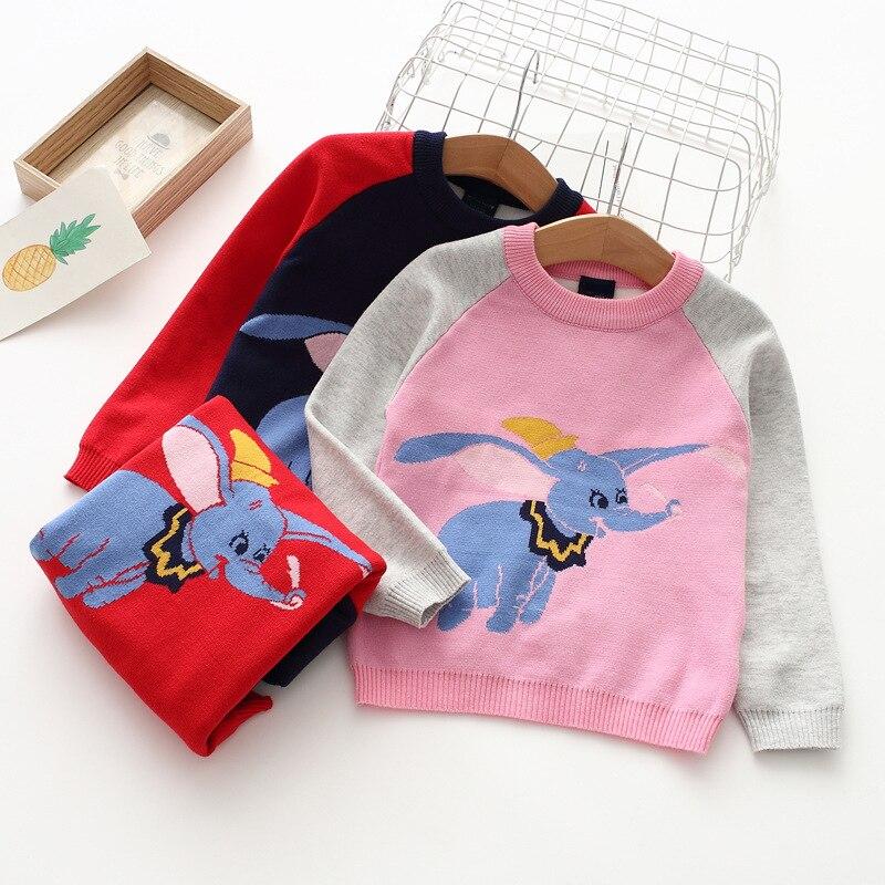 80102 Cartoon Dumbo CHILDREN'S Sweater 19 Autumn Girls Raglan Sweater Childrenswear