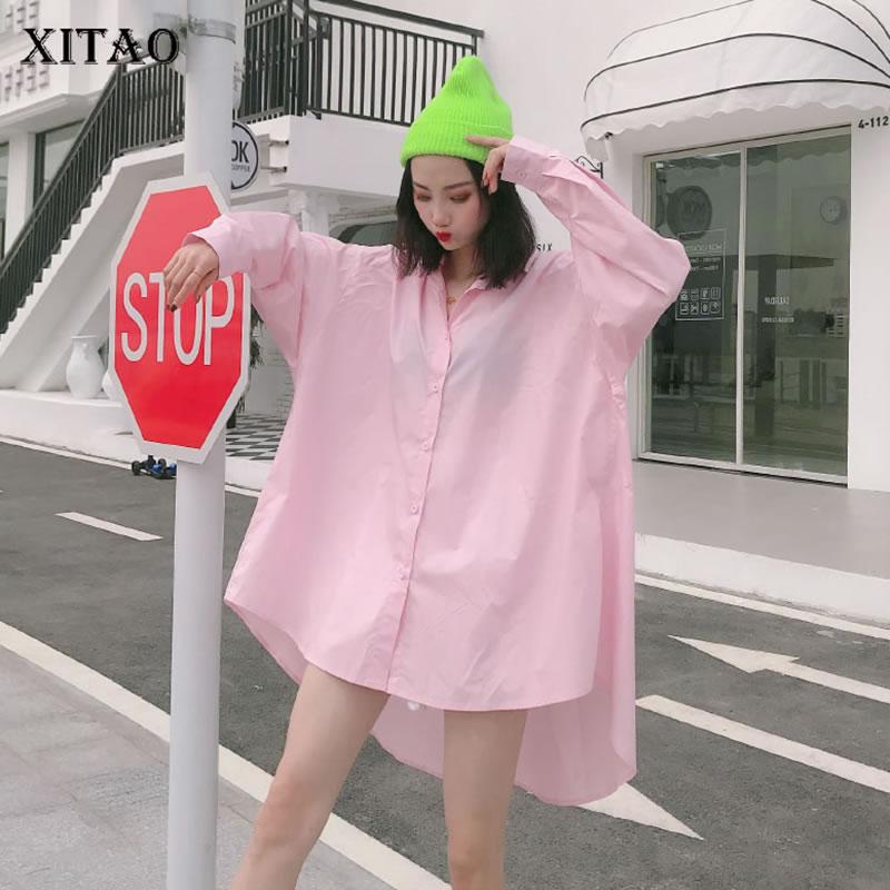 XITAO Irregular Plus Size Sun Protection Blouse Women Clothes 2020 Spring New Fashion Casual Turn Down Collar Shirt Top XJ4044