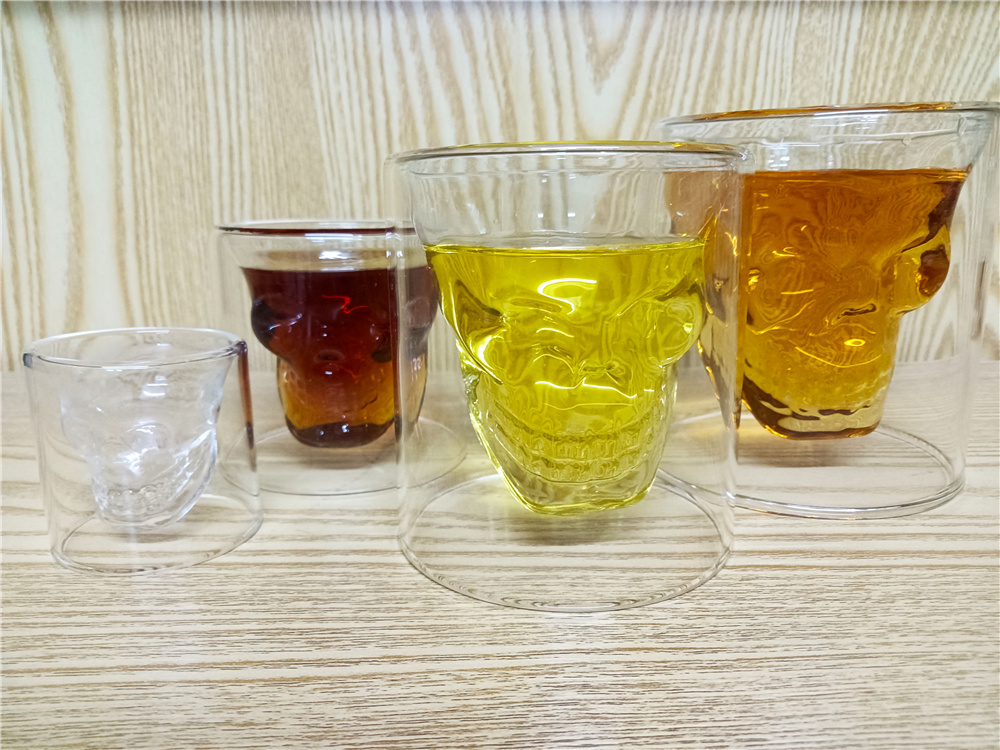 4 Sizes Skull Glass Tea Cup for Whiskey Wine Vodka Bar Club Double Layers Shot Transparent Crystal Glass