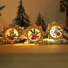 CWooden Star Round Frame Lamp Luminous Christmas Ornament Xmas Tree Hanging Pendant Holiday Decor