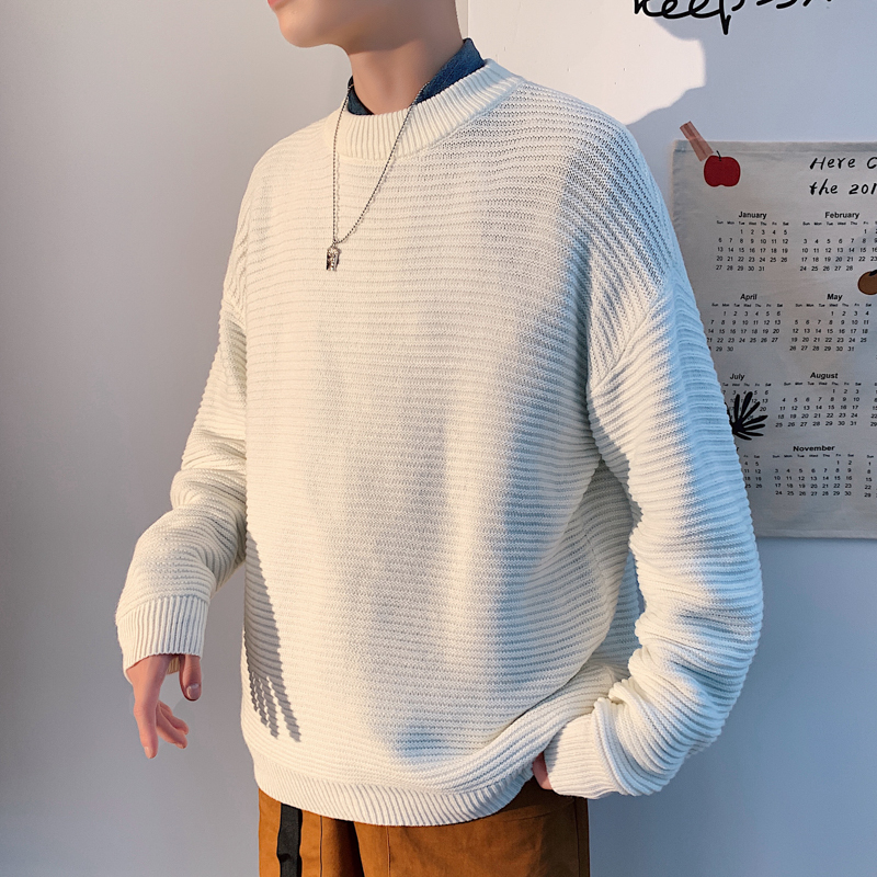2019 Winter Men's Round Neck Coats Thread Cashmere Knitting 8 Color Woolen Sweaters Casual Brand Male Pullover Plus Size M-2XL