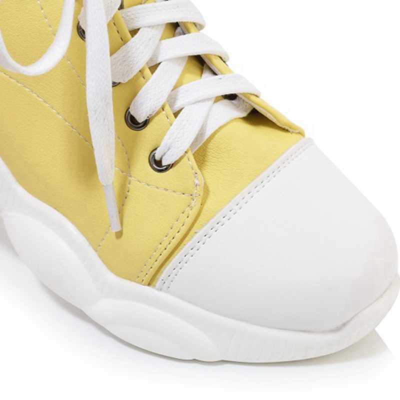 REAVE KEDI bileğe kadar bot Yuvarlak Ayak Spor Ayakkabı Yumuşak taban Yüksekliği artan Çapraz bağlı ayakkabı Boyutu 29-43 Sarı Siyah beyaz rahat ayakkabılar