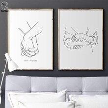Cartaz nórdico preto e branco linha segurando as mãos abraço impressões em tela amante quadros de parede pintura para sala estar decoração minimalista