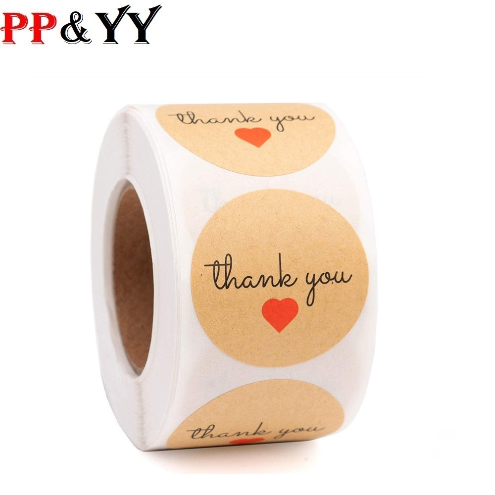 1inch Round Kraft Thank You Stickers For Seal Labes Love Heart Handmade Sticker Craft Gift Packaging Cute Stationery Sticker