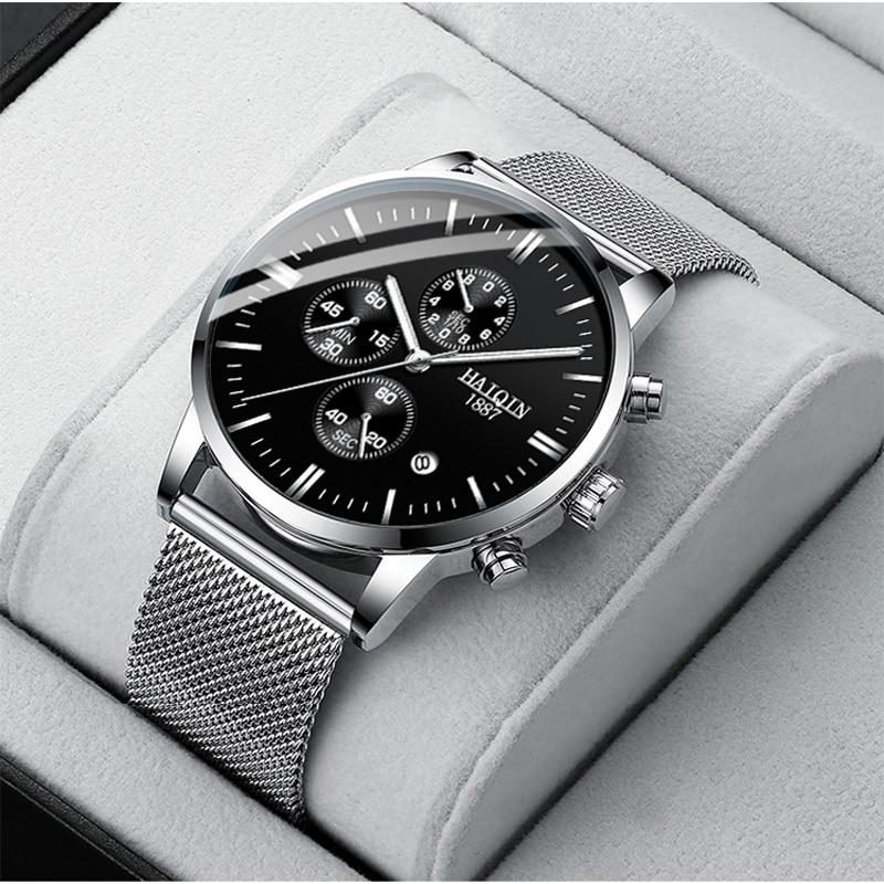 HAIQIN Business Quartz Men's watches Top brand luxury Quartz watch sports wrist watch men mesh belt clock 2019 Relogio Masculino|Quartz Watches|Watches - title=