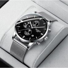 HAIQIN montre à Quartz pour hommes, marque de luxe, montre bracelet de sport, maille, ceinture, horloge, 2019