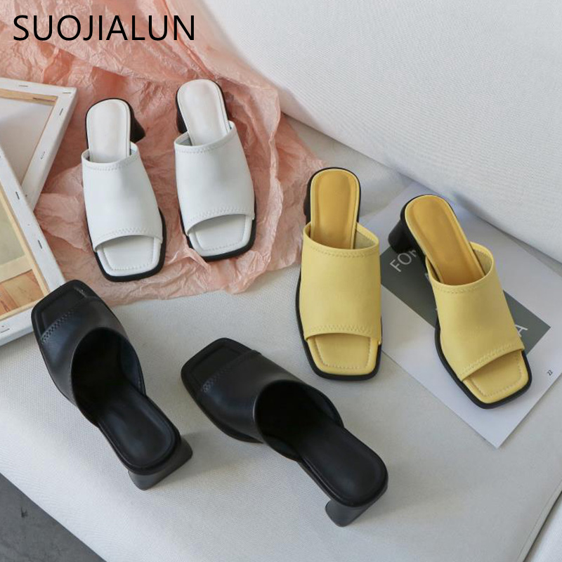 SUOJIALUN Vintage Square Toe High Heel Women Slipper 2020 Summer Outdoor Beach Sandal Slides Ladies Open Toe Designer Shoes