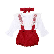Newborn Infant Kids Baby Girls Clothes Sets White Lace Long T-shirt Tops Bib Pants Leggings Headband 3pcs Outfits 0-24M Clothes(China)