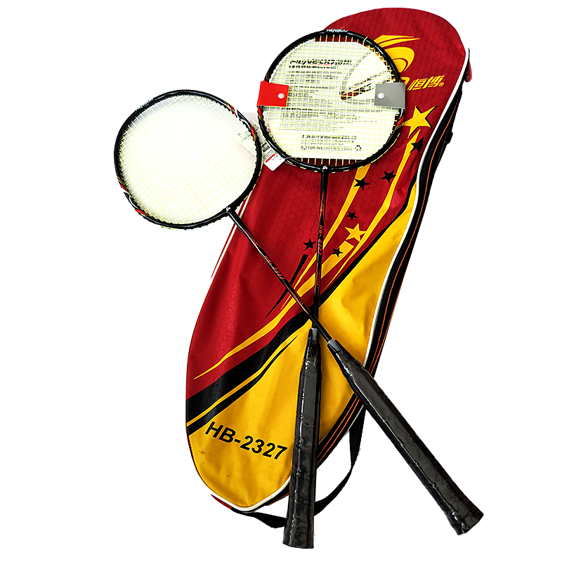 HENBOO Iron Alloy Badminton Racket Set Family Professional Double Badminton Racket Lightest Durable Standard Use Badminton 2327