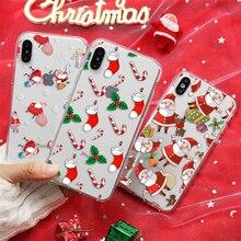 Рождественский подарок чехол для iPhone 7 8 6 6S Plus 4 4S 5 5S SE 5C TPU 11 Pro Max Прозрачный чехол для телефона для iPhone X XR XS Max