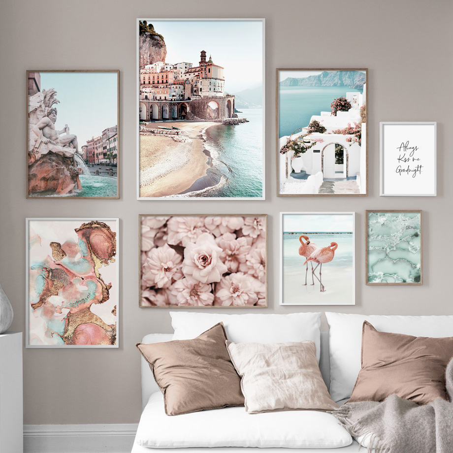 Flamingo Flower Fountain Amalfi Cityscape Wall Art Canvas Painting Nordic Posters And Prints Wall Pictures For Living Room Decor