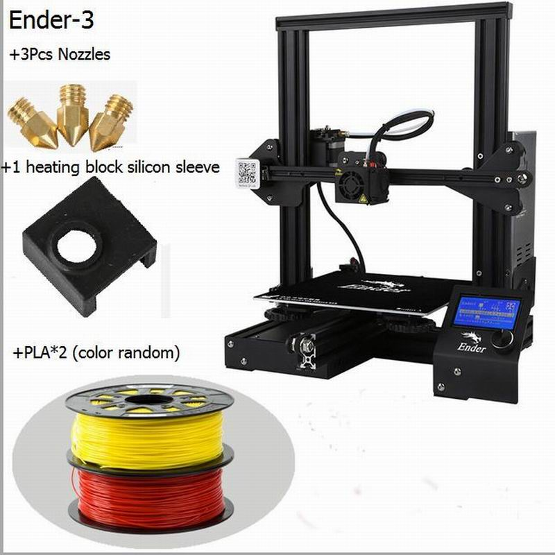 CREALITY 3D 3D Printer Ender-3/Ender-3X/Ender-3PRO Gift Nozzles + Heating Block Silicone Sleeve+PLA