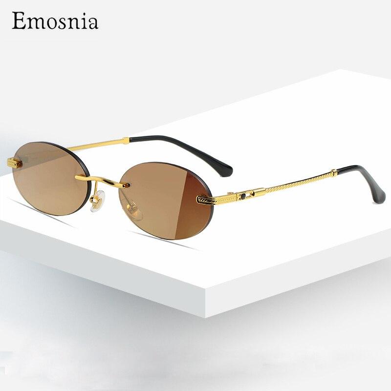Lunettes de soleil rondes classiques pour femmes et hommes, sans bords, marque de styliste en alliage sans cadre, à la mode, UV400, 2020