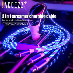¡! ACCEZZ-Cable de carga rápida para iPhone X 11 Pro, Samsung, Huawei y Xiaomi, Cable USB tipo C 2.4A, 3 en 1