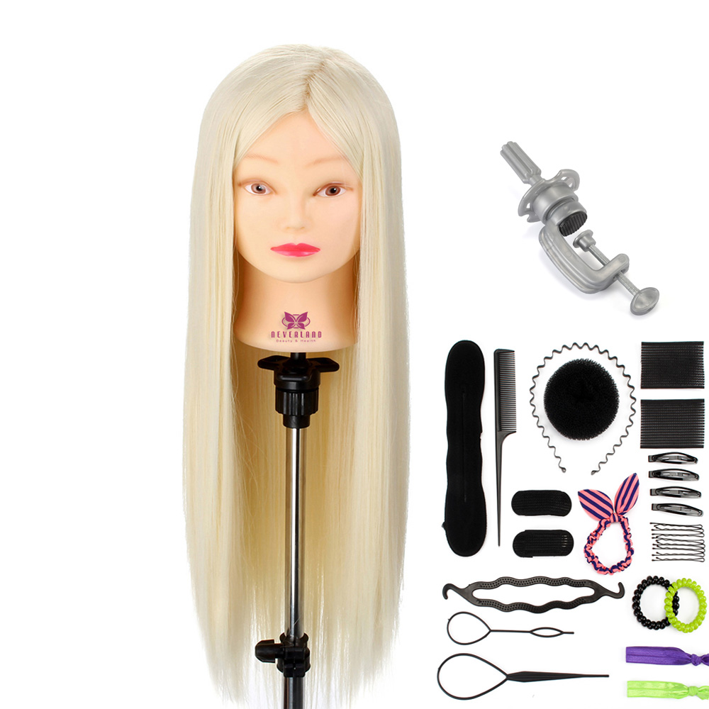 "26"" High Temperature Fiber Hair Mannequin Head For Hairdressers Mannequins With Stand Dummy Heads For Hairstyles"