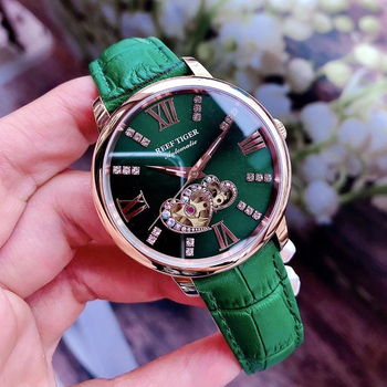 Reef Tiger/RT 2021 New Design Fashion Ladies Watch Rose Gold Green Dial Mechanical Watch Leather Band Montre Femme RGA1580