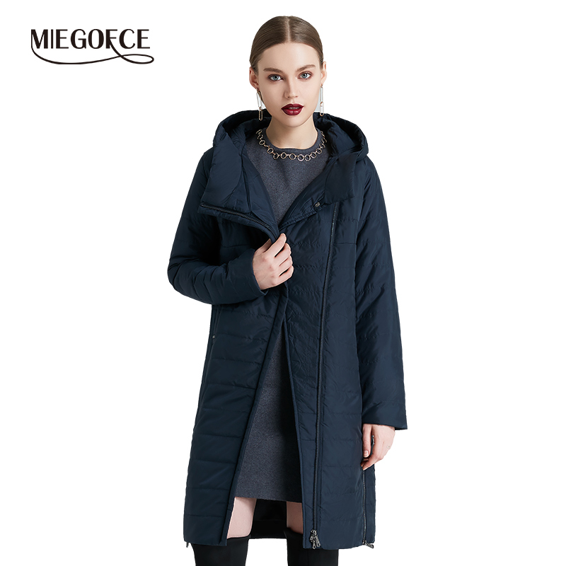 MIEGOFCE 2019 printemps femmes veste avec une fermeture éclair courbe femmes manteau de haute qualité mince coton rembourré veste femmes chaud Parka manteau