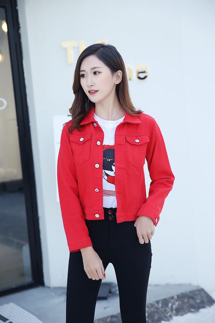 H6a3b69bac7b84d1286c0d4f6e0bc1d8ew 2019 Fashion Jeans Jacket Women Spring 2XL XL Spring Autumn Hand Brush Long Sleeve Stretch Short Denim Jacket White Pink Coats