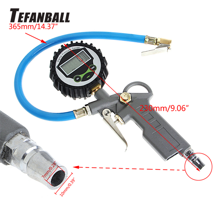 Digital Tire Pressure Gauge Handle Grip Trigger Inflator 220PSI Car Tire Air Pressure Gauge Dial Meter Vehicle Inflation Gun