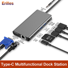8 Port USB C Hub Splitter Type Adapter with 3.5mm Jack 4K HDMI USB-C to TF SD PD Fast Charger Dock for Macbook/Huawei