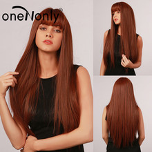 oneNonly Long Straight Ombre Red Brown Synthetic Wigs with Bangs for White Black Women Cosplay Daily Hair Heat Resistant