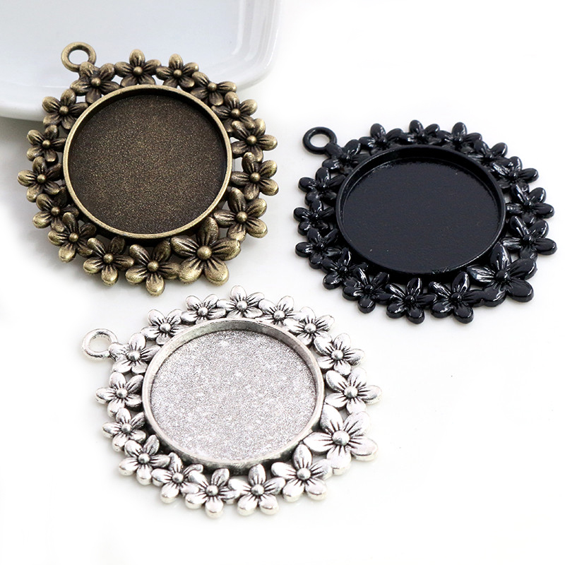 5pcs 25mm Inner Size Antique Silver Plated Bronze And Black Flowers Style Cabochon Base Setting Charms Pendant