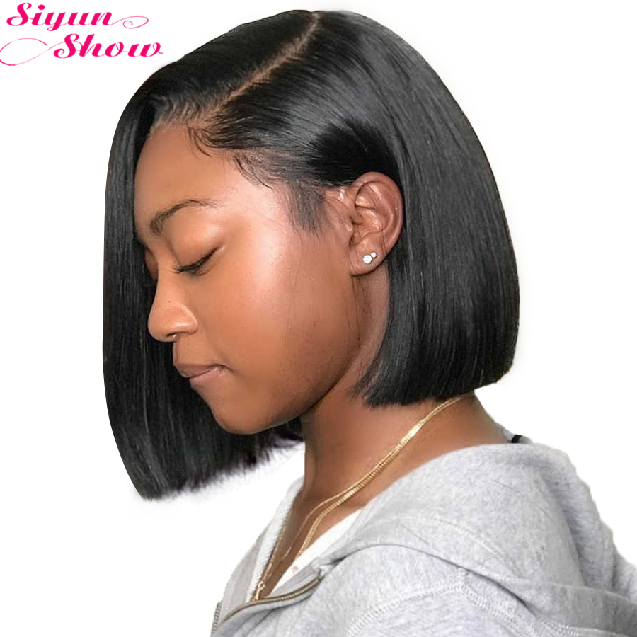 250 Density Short Bob Wig Lace Front Human Hair Wigs Pre Plucked Remy Brazilian Straight Bob Lace Front Wigs For Women Full
