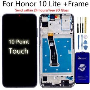 Image 1 - 100% oryginalny wyświetlacz dla Huawei Honor 10 Lite LCD + rama ekran dotykowy wyświetlacz Digitizer dla honor 10i Lcd HRY LX1 HRY LX2 LCD