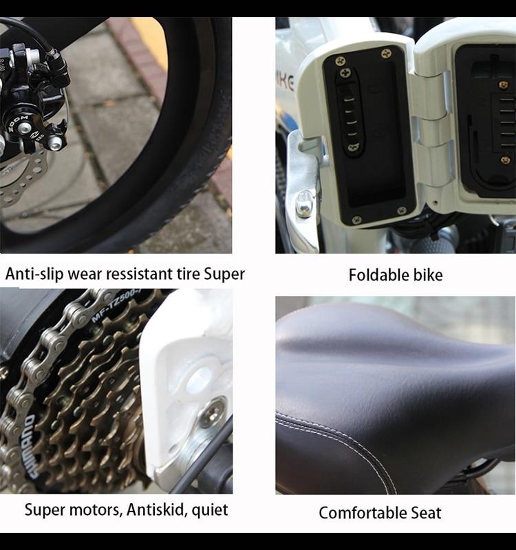 S9F China manufacturer 20 inch e bike 48v 1000w Bafang Motor fatbike 14AH Sam sung battery folding electric bike 3