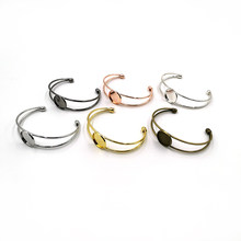 5Pcs/Lot Brass Bracelet Bezel Blank Base with 18mm 20mm 25mm Round Trays Bangle Cabochon Settings For Women DIY Jewelry Making(China)