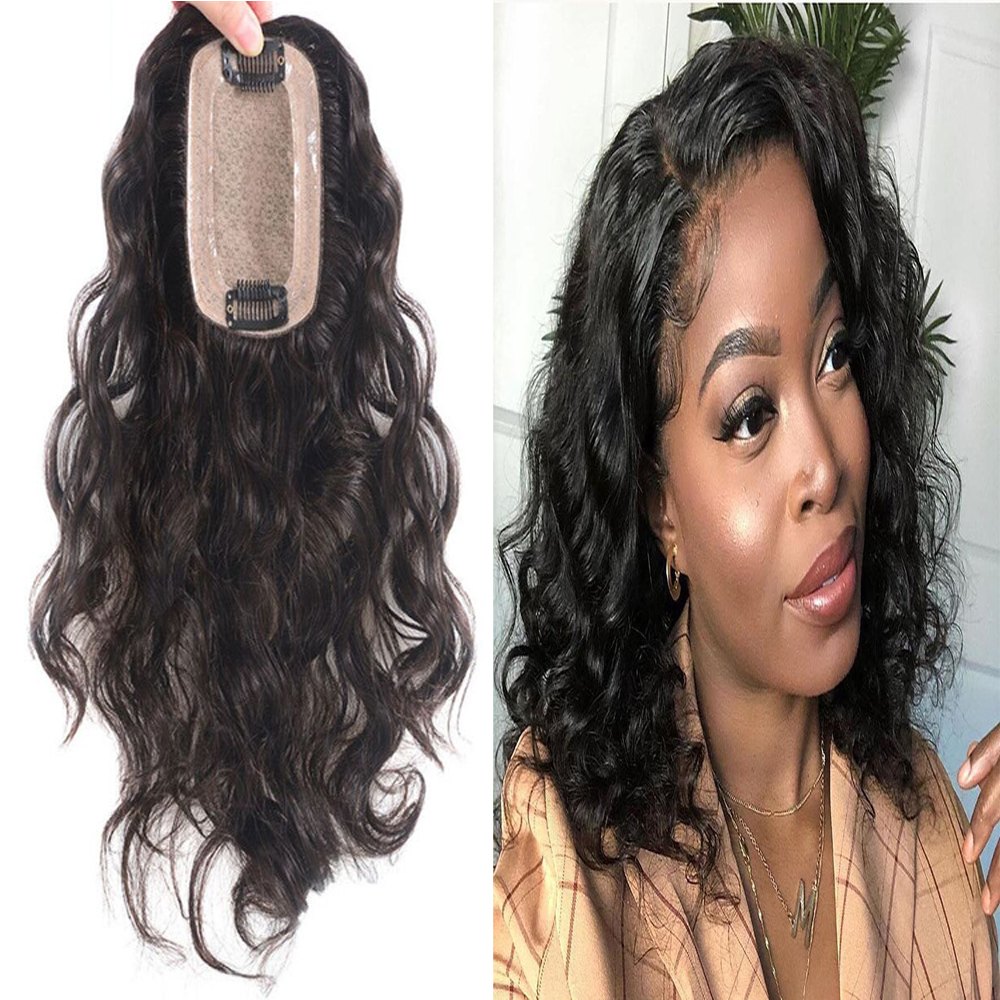 Wave Lace With Silk Base Replacement System Human Hair Toupee For Women Loose Wave With Clips Cover White Hair