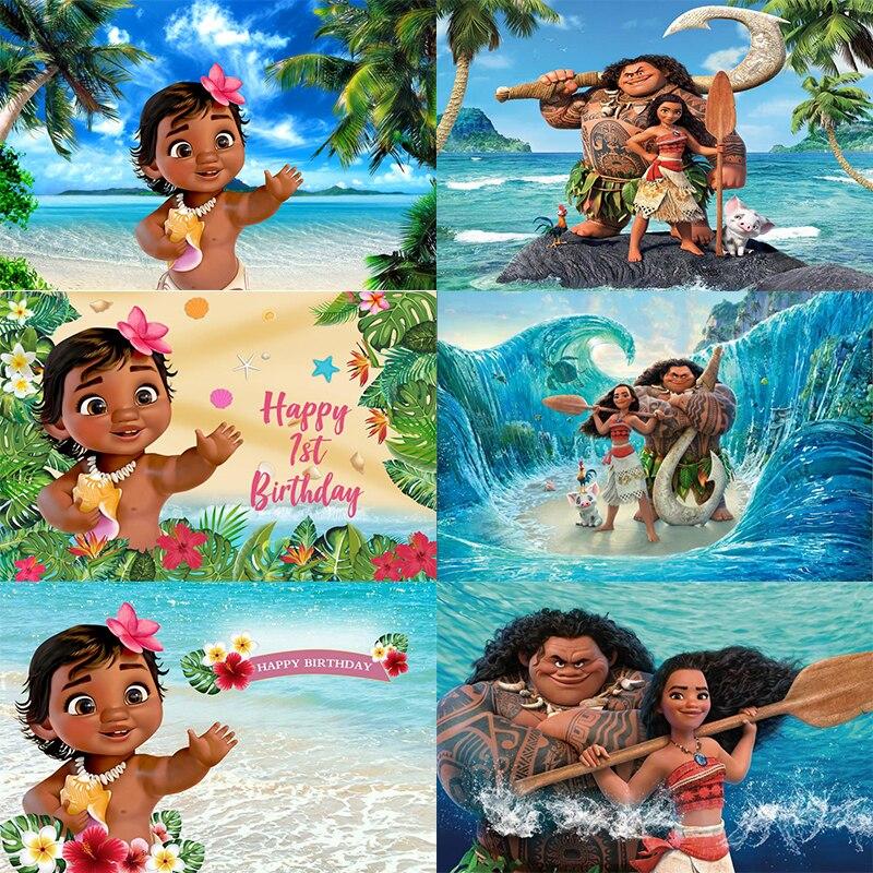 Фон для фотосъемки малышей Моана для девочек детей вечеринка в честь первого дня рождения фон для фотосъемки баннер украшение ваяна
