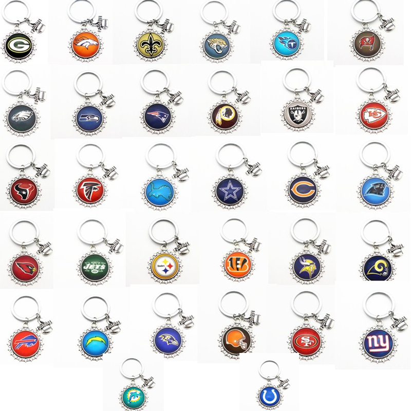 Hot Sale 1pcs/lot  I Love Football Keychains Football Team Round Glass Pendant For Wome Men Key Chains Key Ring DIY Jewelry