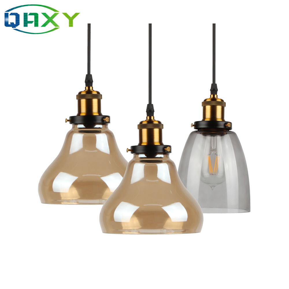 E27 Creative Clear/Amber Glass Pendant Lamps Home Kitchen Bedroom LED Pendant Light Hanging Luminaire Suspendu[D1501]