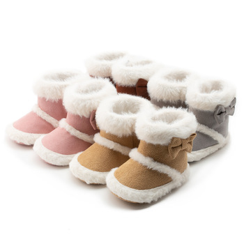 Baby Boy Girl Boots Shoes Fashion Winter Warm Snow Soft Boots Solid Color Elegant Bowknot Knitting Cotton Wool Half Boots 0-18M haraval handmade winter woman long boots luxury flock round toe soft heel shoes elegant casual warm retro buckle solid boots 289