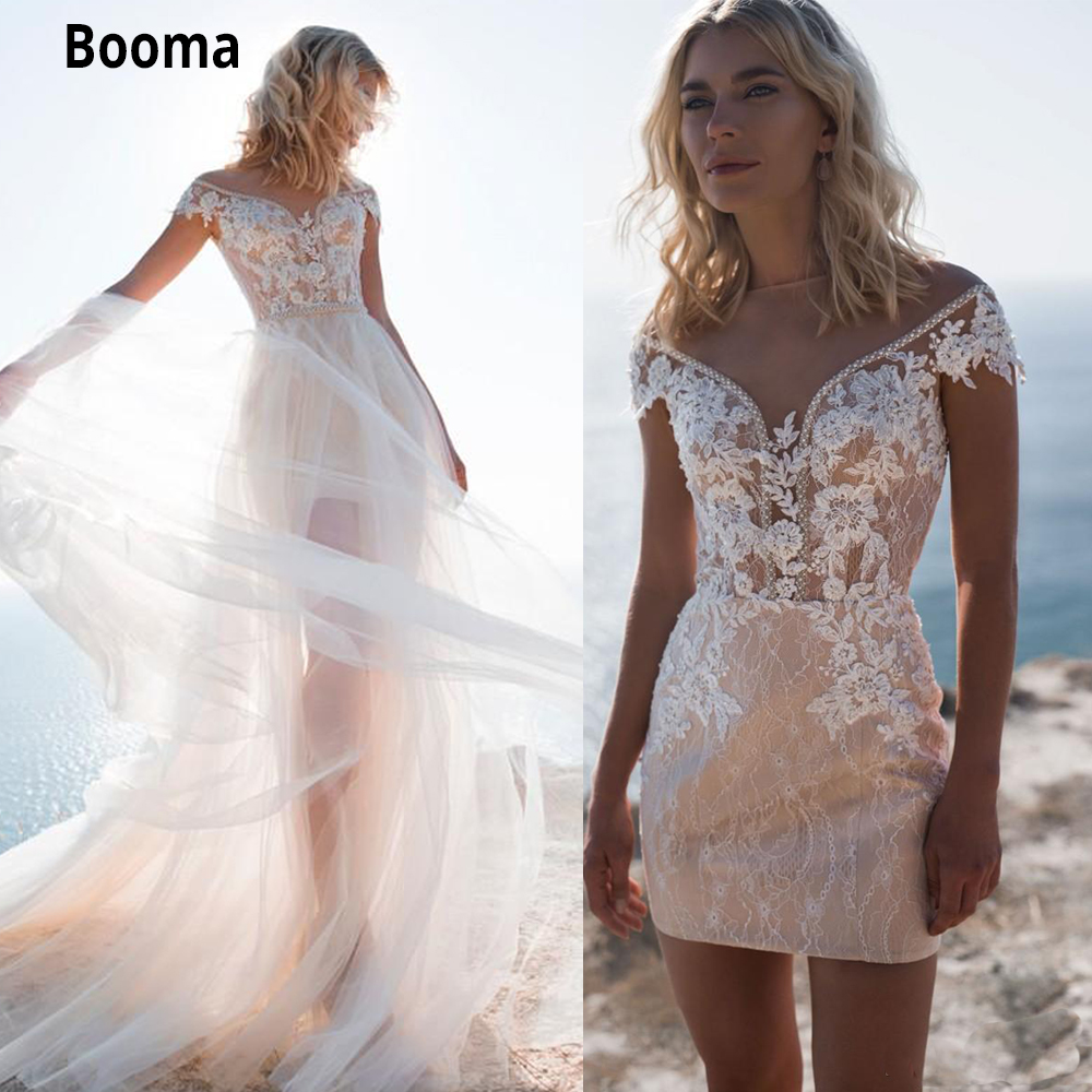Booma Elegant Beach Wedding Dresses Mermaid With Long Train Jewel Neck Beads Appliques Lace Short Bridal Wedding Gowns Customize