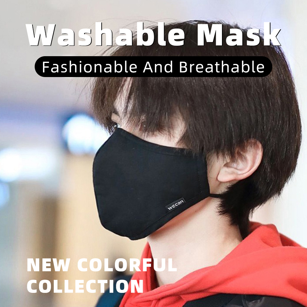 Washable Reusable Face Mask Black Anti Fog Dust Pollution PM2.5 Filter Mouth Cover Protection Breathable Cotton Cloth Face Mask 1