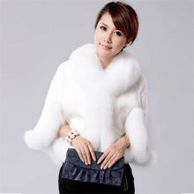 Fur Faux Fur Coat Mink Hair Rex Rabbit Hair Cape Jacket 2018 Black White Fur Overcoat Imitation Rabbit Fur Faux Fox Collar XXXL(China)