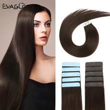 EVAGLOSS Skin Weft Machine Remy Tape in Human Hair Extensions 20pcs 40pcs 80pcs Adhesive Double Sided