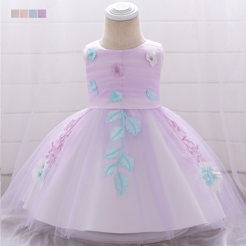 INS Child Formal Dress Hipster Stereo Flower Princess Skirt Baby A Year Of Age Wash Formal Dress Pleated Cotton Lining Babies' D