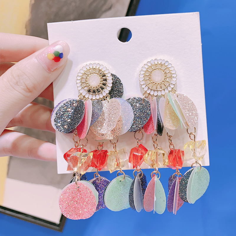 Bohemian Colorful Disc Big Earrings Multi Layers Women Personality Statement Party Jewelry Street Style