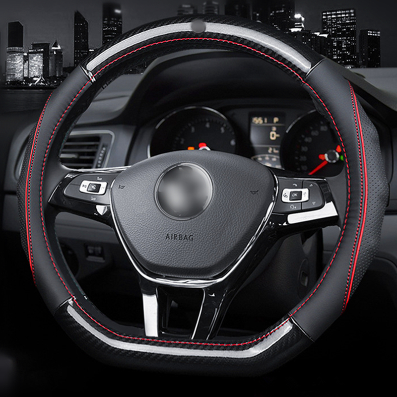 Car <font><b>Steering</b></font> <font><b>Wheel</b></font> Cover D Shape Or Round For Volkswagen <font><b>Golf</b></font> 4 5 6 <font><b>7</b></font> Polo Passat Tiguan Sagitar Bora Lavida <font><b>Carbon</b></font> fiber Cover image
