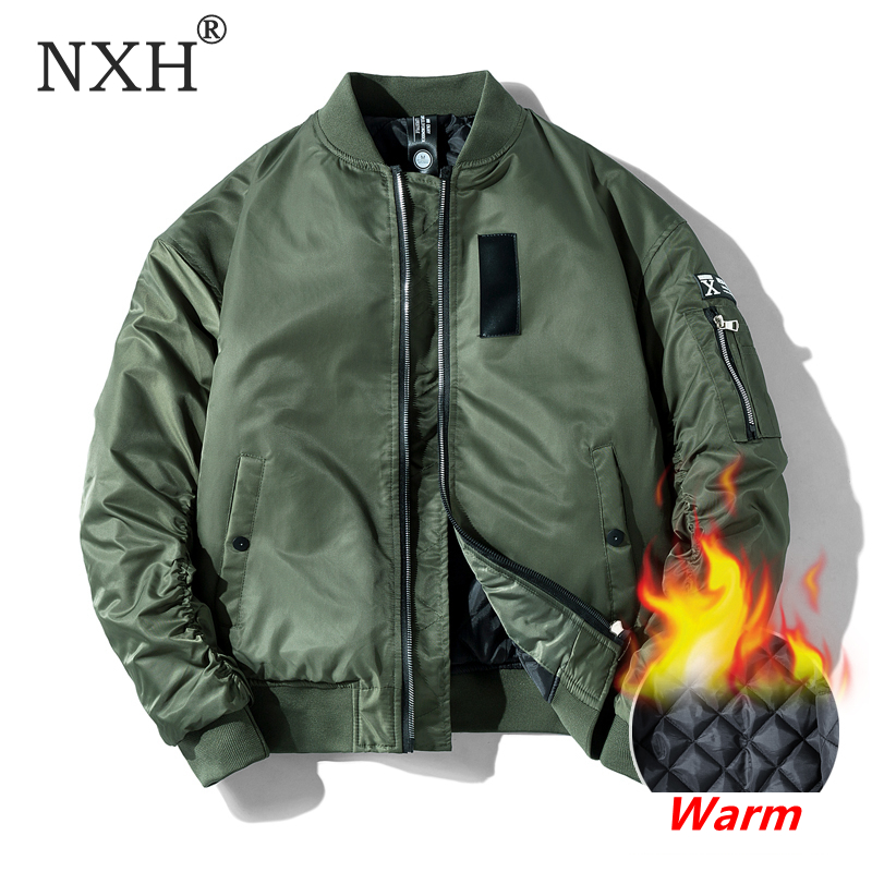 NXH Classic Ma1 Bomber Jacket Men Plus Size Flight Pilot Baseball Jackets Male Military Coat Couple Streetwear Veste Homme