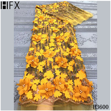 Lace-Fabric Beaded Yellow African Embroidery 3d Flower French-Net Tulle Sequins High-Quality