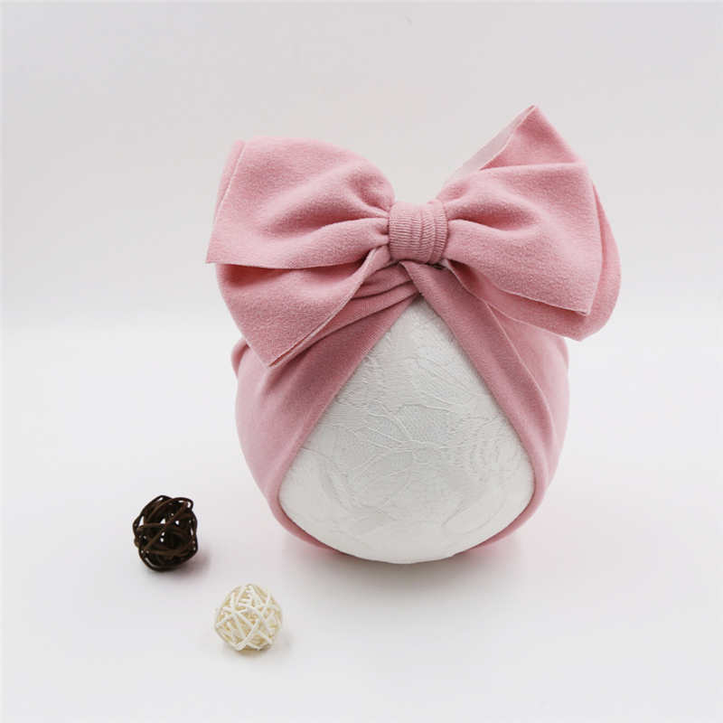 YUXIC Baby Turban Solid Color Bowknot Newborn Caps Soft Elastic Stretchy Baby Girls Hats Spring Summer Baby Beanie Cap
