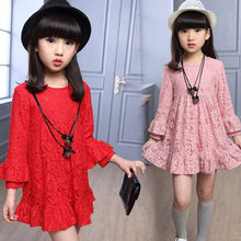 High Quality Korean Vintage Flower Lace Cocktail Dress Girls Long Sleeve Baby Girl Pink Red Black Color New Arrival