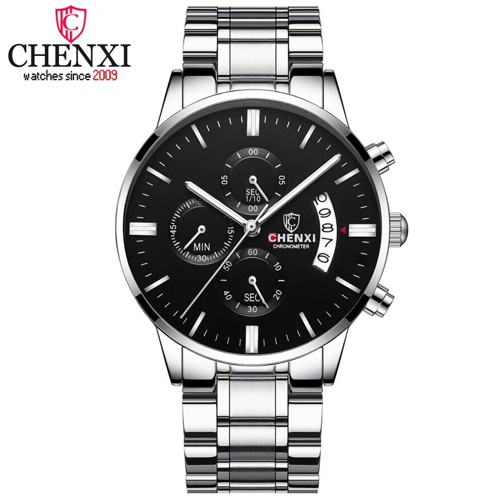 CHENXI Luxury Brand Chronograph Mens Watches Stainless Steel Sport Watch Men Date Waterproof Quartz Wristwatch Relogio Masculino