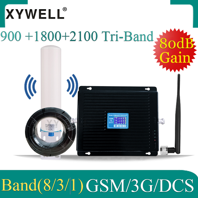80dB Gain Russia Cellular Signal Booster 1800 2100 900mhz DCS LTE GSM 2g 3g 4g  Gsm Amplifier Tri-Band Cellular Signal Repeater