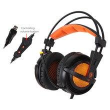 $32 8 SADES A6 USB فوق الأذن ستيريو السلكية سماعات للعب لعبة سماعة فوق الأذن مع هيئة التصنيع العسكري التحكم الصوتي لأجهزة الكمبيوتر المحمول ألعاب
